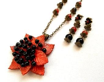 Flower Jewelry, Berry, Statement Necklace, Dangle Earrings, Orange Jewelry, Handmade Jewelry, Floral Fashion, Leaf Jewelry, Elegant Jewelry