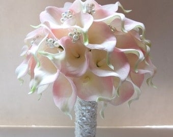 Blush Pink Calla Lily bouquet, accented with pearls & crystals, Bridal Bouquet, wedding bouquet