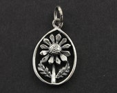 Sterling Silver Flower in a Pear Charm / Pendant with Jump Ring, Jewelry Component Finding, 1 Piece, (SS/CH4/CR67)