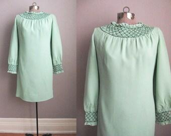 1960s Vintage Dress Mint Green Smocking Long Sleeve Crepe 60s Day Dress / Medium