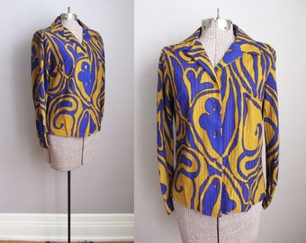 1960s Blouse Psychedelic Print Blue Mustard Terry Cloth / Medium