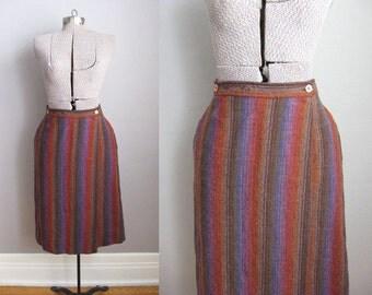 1960s Wrap Skirt Vintage Irish Tweed Brown Rust Rainbow Stripes / Medium