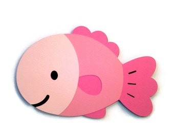Fish Card in Pink or Blue , Ocean Babies , Fish Shaped Card , Blue Fish , Pink Fish