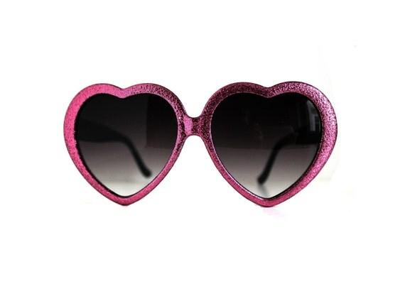 Handmade Glitter Heart Sunglasses Pink Hearts Eyeglasses