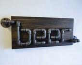 "Industrial Black Pipe Beer Sign ""The Rampant"""