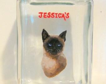 Siamese Cat, Treat Jar, Catnip Container, Pet Snack Canister, Hand Painted Pet Portrait, Cat Art, Animal Art, Painted Glass Jar
