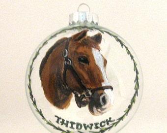 Horse Painting, Equestrian Art, Custom Pet Portrait, Hand Painted Horse, Christmas Ornament, Glass Ball, Pet Loss Memorial, Personalized Pet