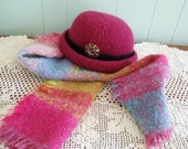Wool bowler hat with matching wool mohair scarf, set made in VT Vermont, Women's Bowler Hattitudes by Avoca Wool, magenta pink, vintage pin