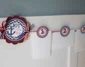 Nautical First Year Monthly Photo Banner, 0-12 Months, Baby's First Year Monthly Photo Banner