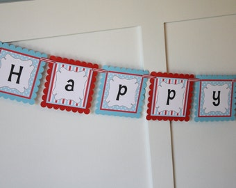Red Wagon Birthday Banner, Red Radioflyer Wagon Birthday Party Banner