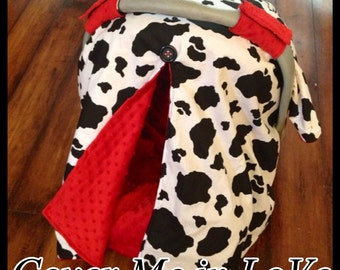 Cow print and red minky Car seat canopy