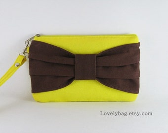 SUPER SALE - Yellow with Brown Bow Clutch - iPhone 5 Wallet, iPhone Wristlet, Cell Phone Wristlet, Cosmetic Bag,Zipper Pouch - Made To Order