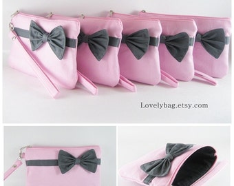SUPER SALE - Set of 5 Light Pink with Little Gray Bow Clutches - Bridal Clutch,Bridesmaid Clutch,Bridesmaid Bag,Wedding Gift - Made To Order