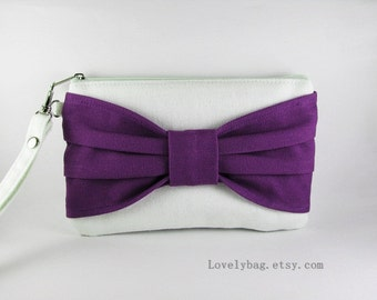 SUPER SALE - Ivory with Eggplant Bow Clutch - Bridal Clutches, Bridesmaid Wristlet, Wedding Gift, Cosmetic Bag ,Camera Bag, Zipper Pouch