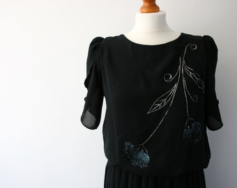 Vintage Black Dress, Pleated Skirt, Metallic Floral Print, Evening Dress