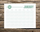 2015 Printable Wall Calendar // Modern Green