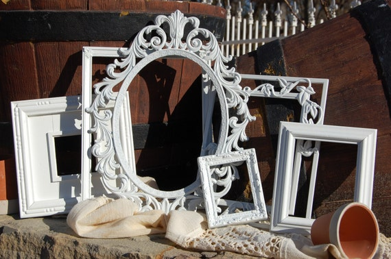 Shabby Chic Decor Picture Frames - PICTURE FRAMES - Collection Of 6  Picture Frames