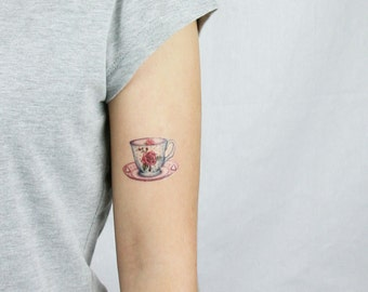 Sweet Rose Teacup temporary tattoo - artist Amanda Whitelaw