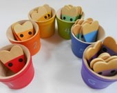 Montessori kids wood color matching sorting mice in buckets game