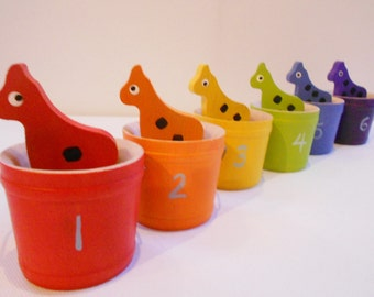 Giraffe wood montessori color matching, sorting and counting game