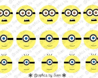 """1"""" DIGITAL Bottle Cap IMAGES -Yellow Guy- For Use On Finished Products & For Precut sale"""