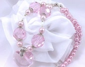 Pink Swarovski Elements Necklace, Pink Heart Necklace, Crystal Heart, Pink Pearls, Chunky Pink Necklace