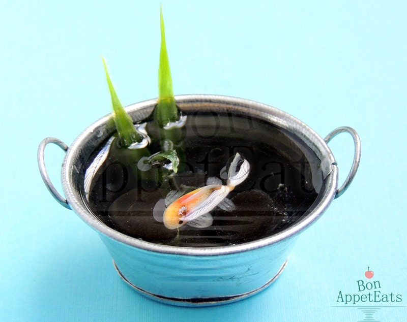 Handmade miniature metal tub pond with calico koi fish for Koi pond tubs