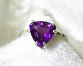 Amethyst Ring, Amethyst Trillion Ring 9mm 925 Sterling Silver Ring, Size 7