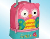 Lunchbox - Personalized and Embroidered - 2 Insulated Compartments - Lunch Pal - PINK OWL