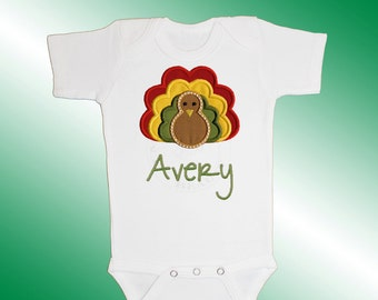 Baby Shirt Bodysuit - Personalized Applique - Turkey - Embroidered Short or Long Sleeved - Thanksgiving