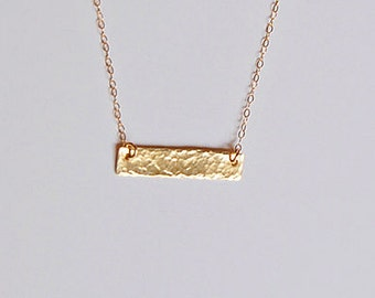 Larger Textured Gold Bar Necklace