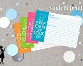 Recipe Card Set - KEEP CALM And COOK Printable Instant Download