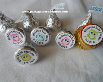 108 Unique Personalized Owl Baby Shower, Birthday Hershey's Kiss Labels, Mint Labels, Recess peanut butter cups labels, candy wrappers