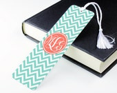 Personalised Bookmark Metal book mark page marker - Monogram Chevron Pool Grapefruit - p08