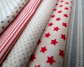 Tilda Fabric FQ Bundle - Red, White and Blue - 5 Metric Fat Quarters