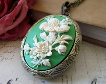 Flower Cameo Locket Necklace, Vintage Inspired Long Chain Antique Brass Oval Ivory-Green Flower Cameo Locket Necklace