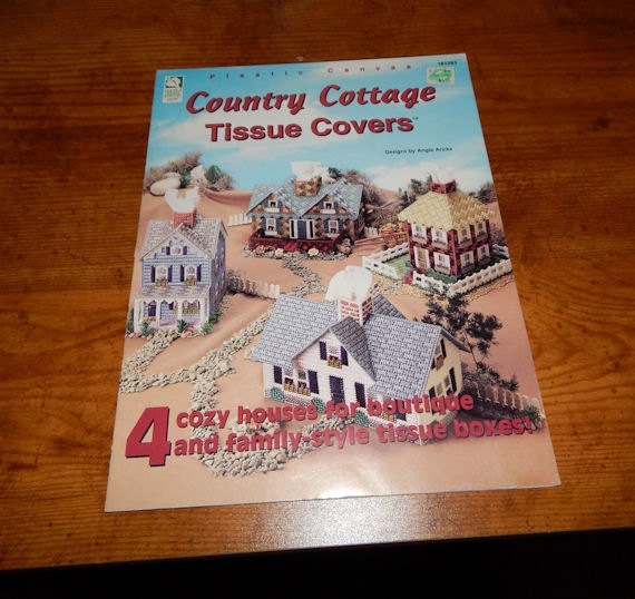 Country Cookbook Cover : Plastic canvas country cottage tissue covers by