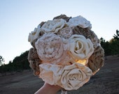 Bouquet, Large Burlap and Lace Bridal Bouquet - DyJoDesigns