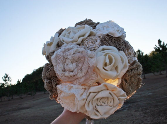 Bouquet, Large Burlap and Lace Bridal Bouquet