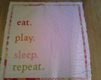 Eat, Play, Sleep, Repeat wity Red Chevron and Marmalade Fabric by  Moda -Ready to Send - Perfect New Baby Gift