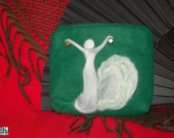 Flamenco gift, Green and White, Castanets pouch, flamenco dancer, Green Pencil case, flamenco dance gift, flamenco lover gift