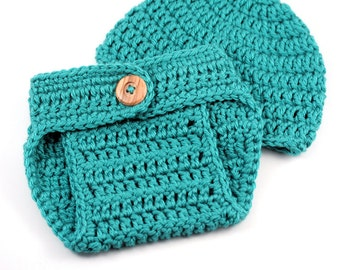 Turquoise Crochet Diaper Cover and Hat Set // Newborn Gift Set