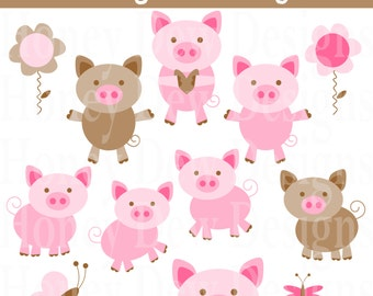 Instant Download - Clipart Package 194 Pig Clipart!