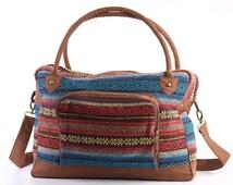 Southwestern Overnight Travel Bag Carry on Weekender Bag Woven Cotton, Boho, Hippie, Unisex
