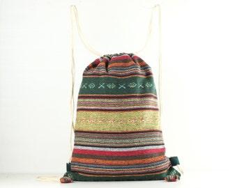 Gym Bag Cloth Drawstring Bag/Backpack Tribal Velvet Bag Compact size