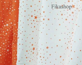 Yard - Twinkle Little Orange Stars in White or White Stars in Orange (2 Color) 100% Cotton - Fikashop