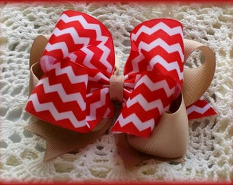 Uniform Hair Bow....Red  White and Tan Uniform Bow....Red chevron Hair bow....Chevron Uniform Hair Bow...Uniform Bow...