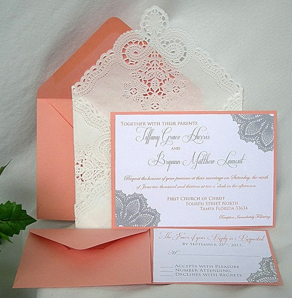 Coral And White Wedding Invitations: Coral N White Linen Doily Lace Wedding By AllThingsAngelas