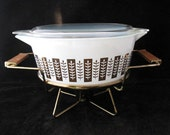 Pyrex Gourmet Covered Casserole with Lid and Warming Stand Vintage 1960s Delphite Blue