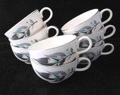 8 Homer Laughlin  Lotus Hai Coffee Cups Rhythm Vintage 1950s SET of 8